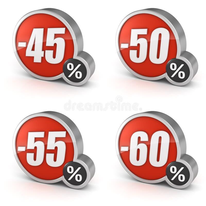 Rechnen Sie 45% 50% 55% 60% Ikone Verkaufs 3d auf weißem Hintergrund ab vektor abbildung