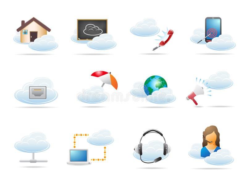 Rechnenikone konzept der Wolke lizenzfreie abbildung