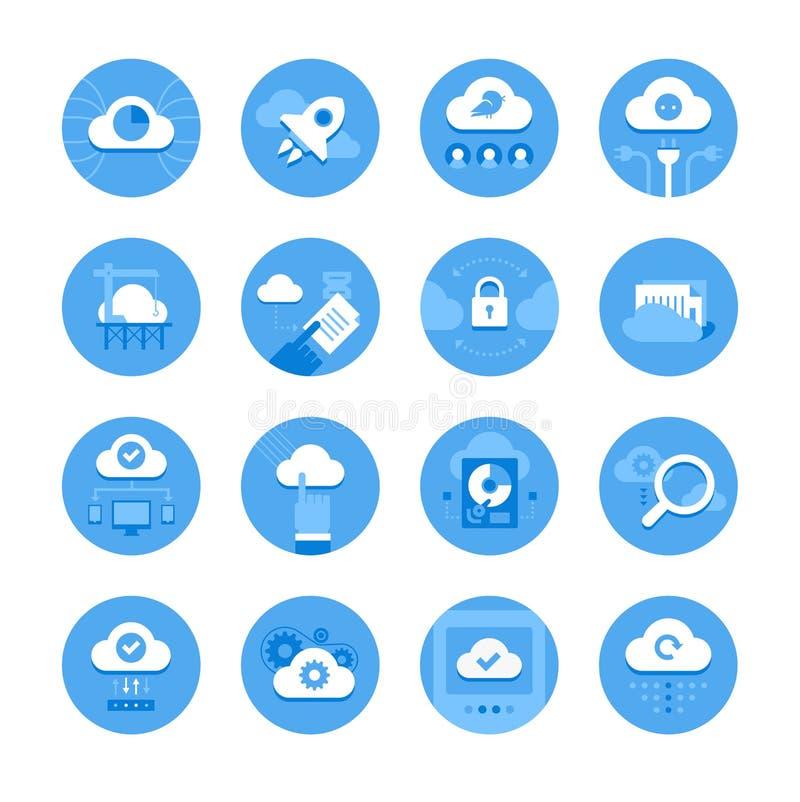 Rechnenikonen der Wolke lizenzfreie abbildung