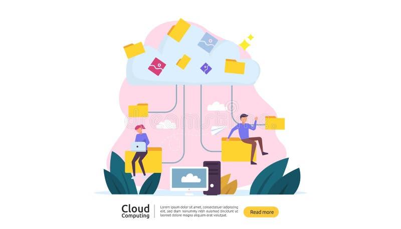 Rechnenkonzept der Wolke Bewirtung des Vermittlungsdienstes oder des on-line-Datenbankspeichersystems mit Leutecharakter f?r Netz stock abbildung