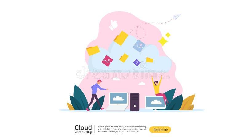 Rechnenkonzept der Wolke Bewirtung des Vermittlungsdienstes oder des on-line-Datenbankspeichersystems mit Leutecharakter f?r Netz vektor abbildung