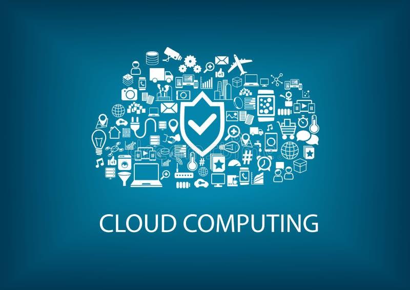 Rechnensicherheit der Wolke Sicherheit im Wolkenkonzept mit Ikonen auf unscharfem Hintergrund lizenzfreie abbildung