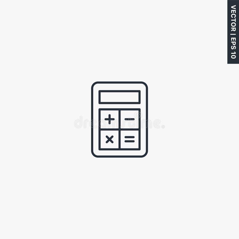 Rechner, Berechnung, Linearstil-Zeichen für mobiles Konzept und Webdesign lizenzfreie abbildung