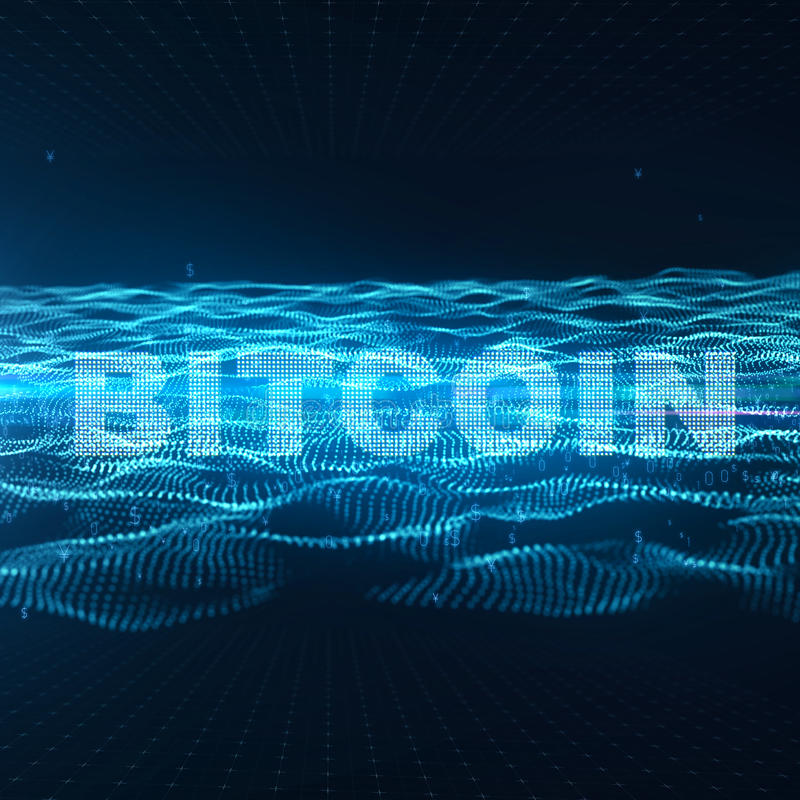 Rechnerschaltungs-Brett mit mehrfachen asic Chips und cryptocurrency Wort Bergbau-Konzept Blockchain Cryptocurrency 3d stock abbildung