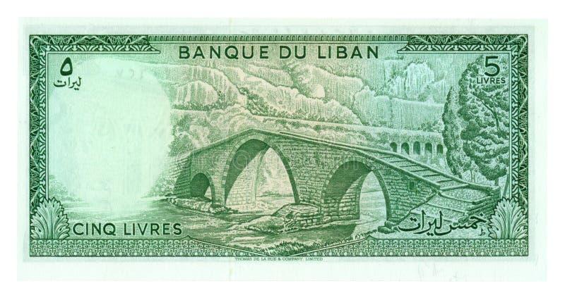 Rechnung mit 5 Livren vom Libanon lizenzfreie abbildung