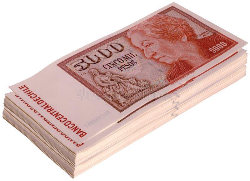 Rechnungen des chilenischen Pesos stockbild