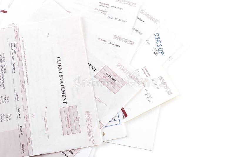 Rechnungsanweisungen und -rechnungen stockfoto