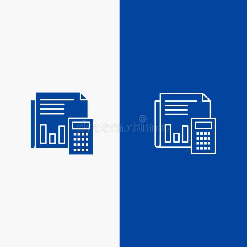 Rechnungsprüfung, Buchhaltung, Bankwesen, Budget, Geschäft, Berechnung, Finanz-, Fahne der festen Ikone der Berichts-Linie und de lizenzfreie abbildung