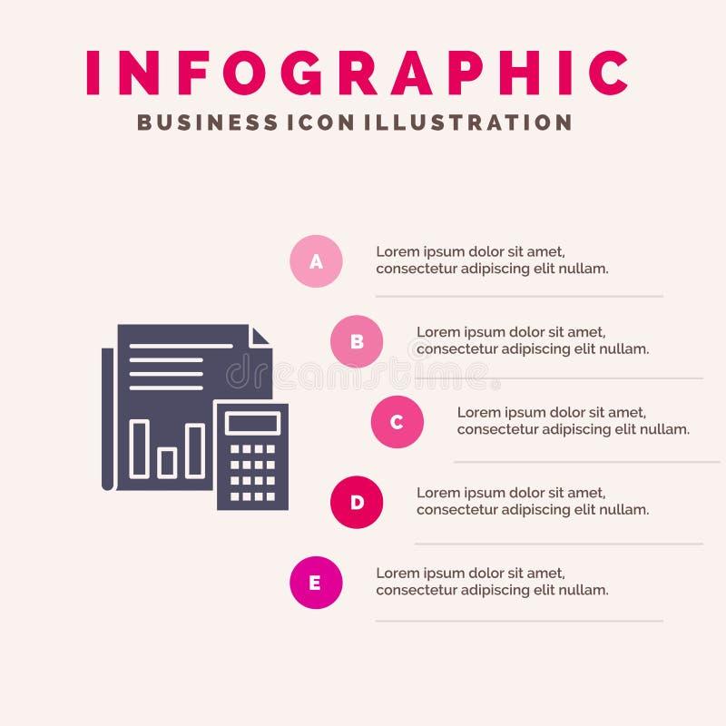 Rechnungsprüfung, Buchhaltung, Bankwesen, Budget, Geschäft, Berechnung, finanziell, Schritt-Darstellung Berichts-feste Ikone Info vektor abbildung