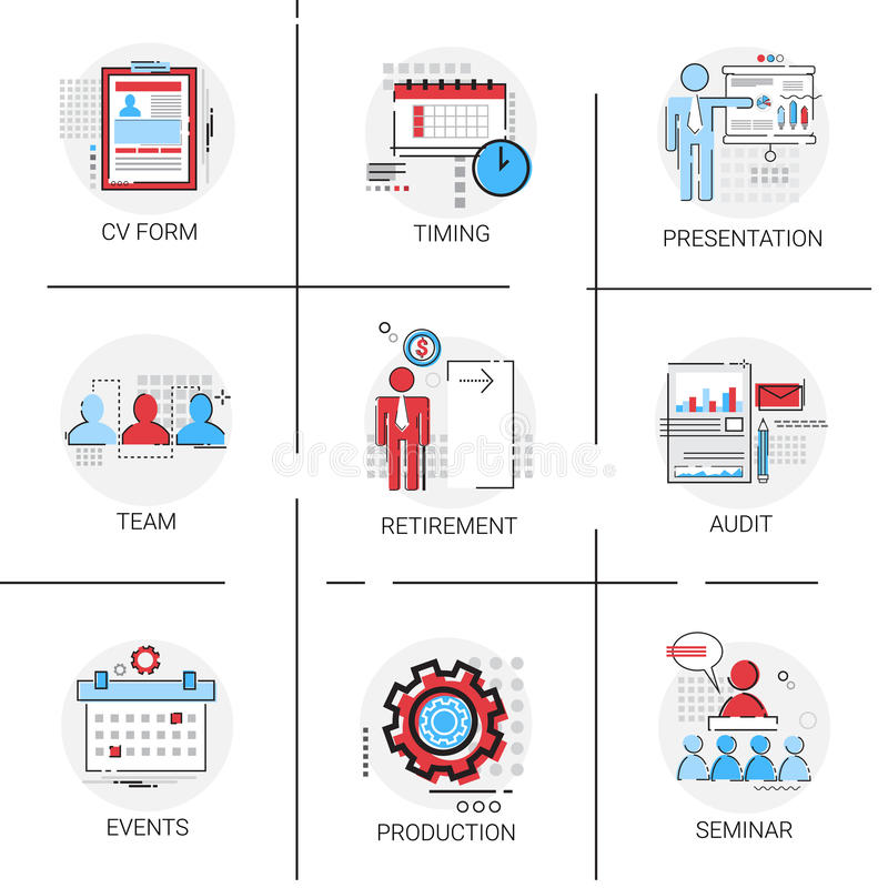 Rechnungsprüfungs-Datenanalyse, Personalwesen-Seminar Team Timing Conference Icon Set vektor abbildung