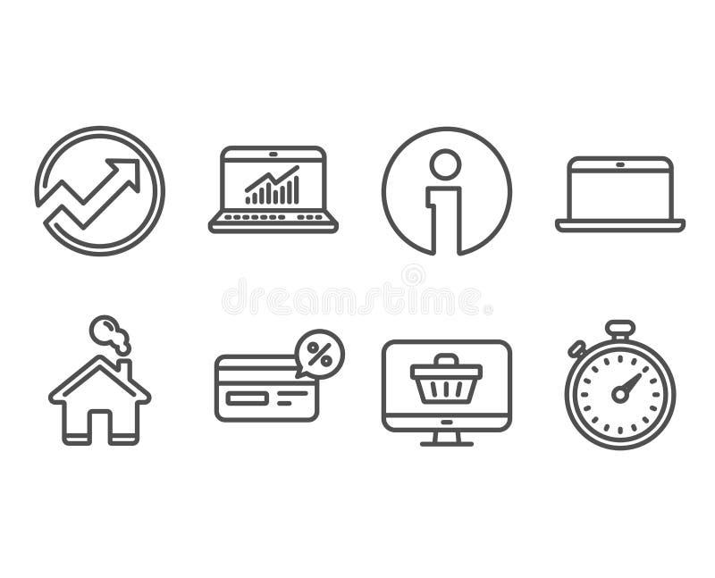 Rechnungsprüfungs-, Laptop- und Cashback-Ikonen Netzshop, on-line-Statistiken und Timer-Zeichen stock abbildung
