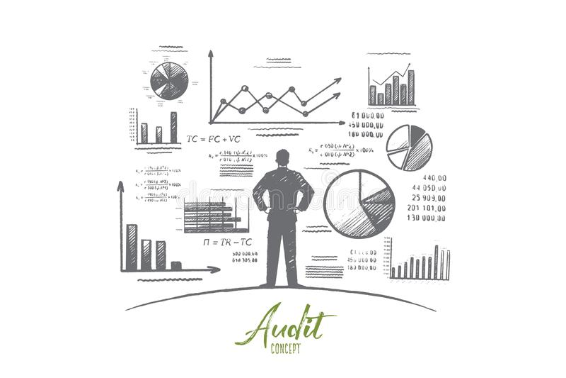 Rechnungsprüfungskonzept Hand gezeichneter lokalisierter Vektor lizenzfreie abbildung