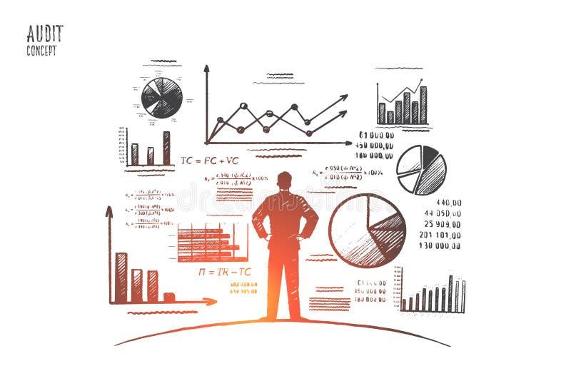 Rechnungsprüfungskonzept Hand gezeichneter lokalisierter Vektor stock abbildung