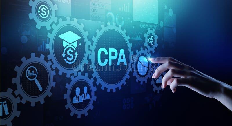 Rechnungspr?fungs-Gesch?ftskonzept CPAs Certified Public Accountant auf virtuellem Schirm stockbild