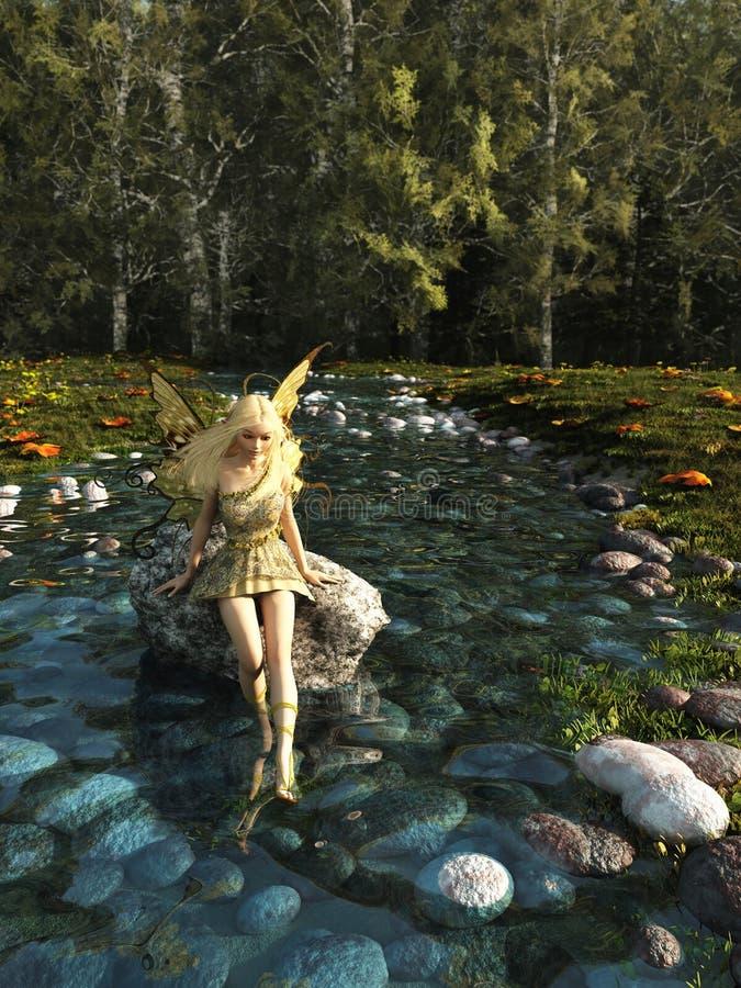 Recht blonde Fee, die in Forest Stream schaufelt lizenzfreie abbildung