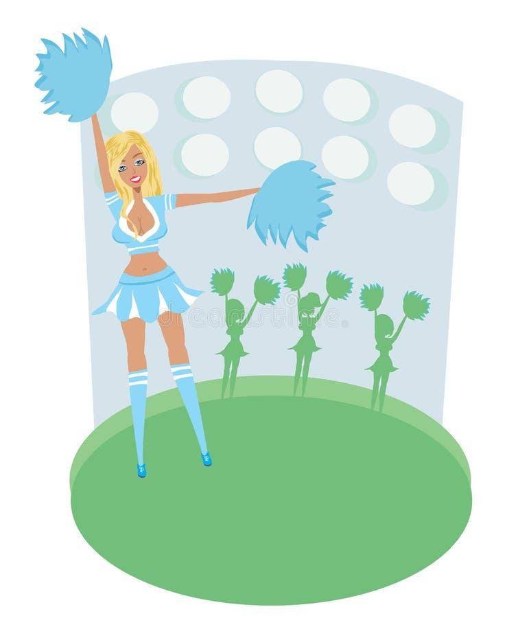 Recht blonde lächelnde Cheerleader With Pom Poms stock abbildung