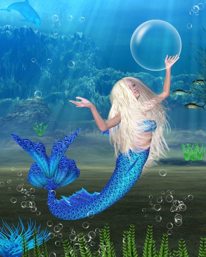 Recht blonde Nixe mit Unterwasserhintergrund lizenzfreie abbildung