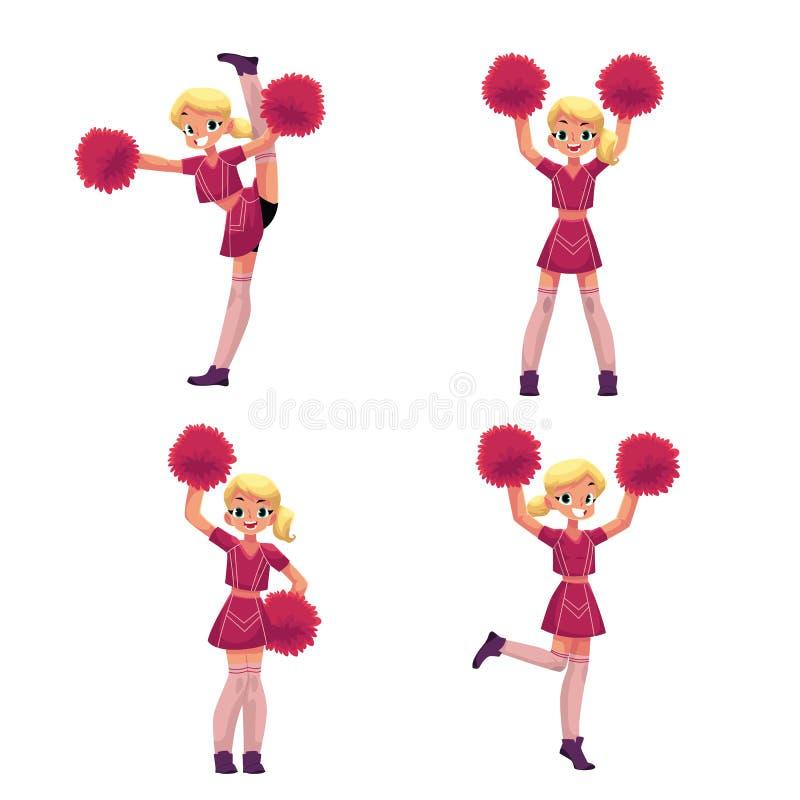 Recht blondes Mädchen in der Cheerleaderuniform mit Pompoms, Karikaturillustration vektor abbildung