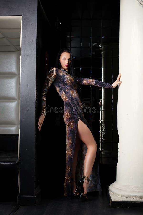 Recht dünner Brunette, der in der modischen Kleidung aufwirft stockfotografie