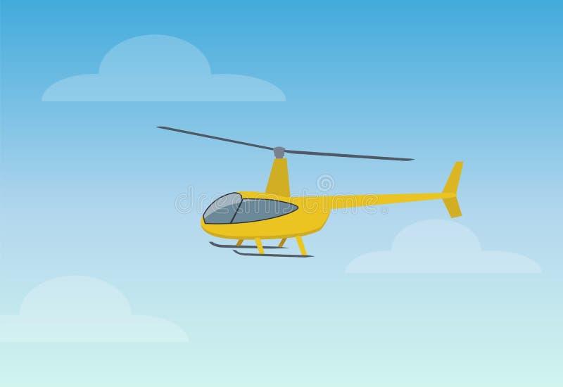 Recht gelbe Hubschrauber-Farbvektor-Illustration vektor abbildung