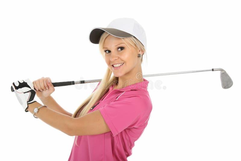 Recht im rosafarbenen Golfspieler stockbild
