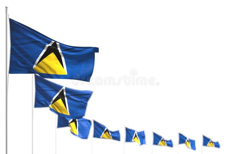 Recht irgendeine Illustration der Feierflagge 3d - St. Lucia lokalisierte Flaggen setzte diagonales, Bild mit Weichzeichnung und  vektor abbildung