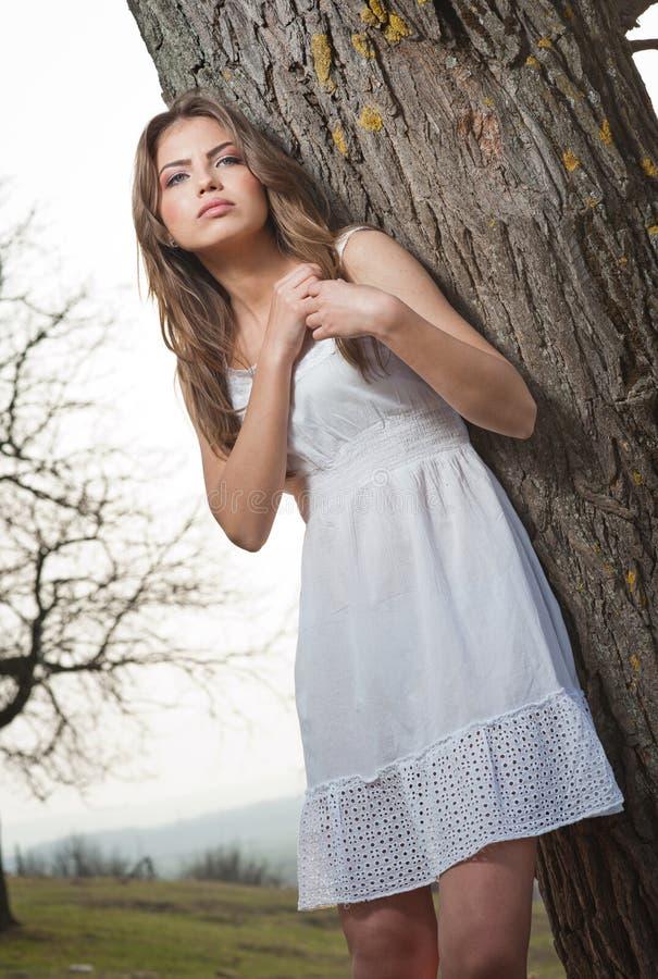 Recht junge Frau, die das Legen auf einen Baum aufwirft. Sehr attraktives blondes Mädchen mit weißem kurzem im Freien auf einem Hü stockbild