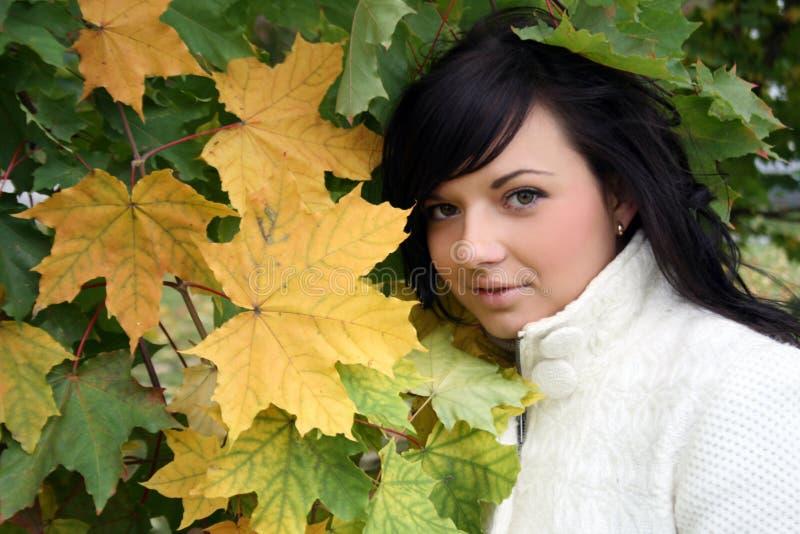 Recht junge Frau, die nahes Ahornholz steht lizenzfreie stockfotografie