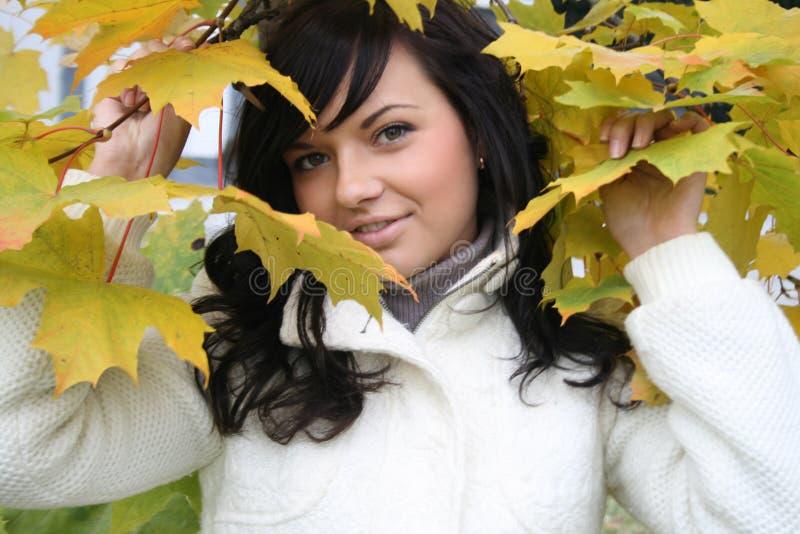 Recht junge Frau, die nahes Ahornholz steht stockfotos