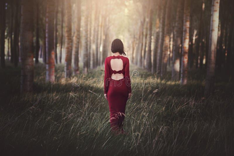 Recht junge Frau im Wald lizenzfreie stockfotos
