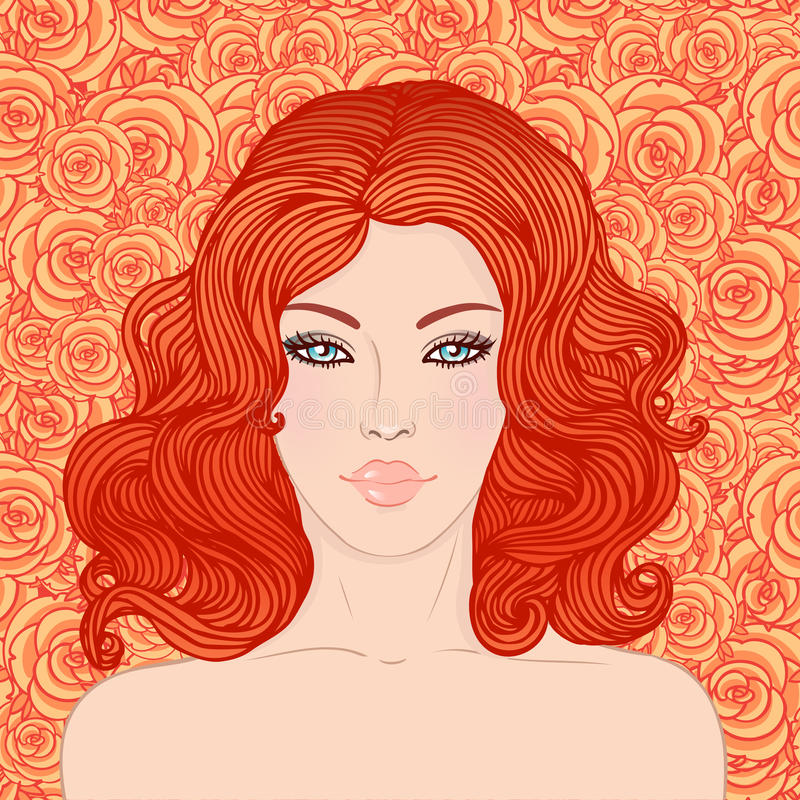 Recht junge Frau mit dem schönen roten Haar vektor abbildung