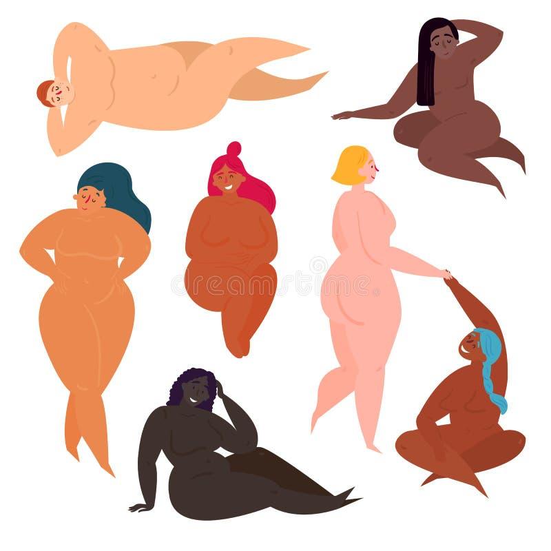 Recht junge Frauen in den verschiedenen Haltungen stock abbildung
