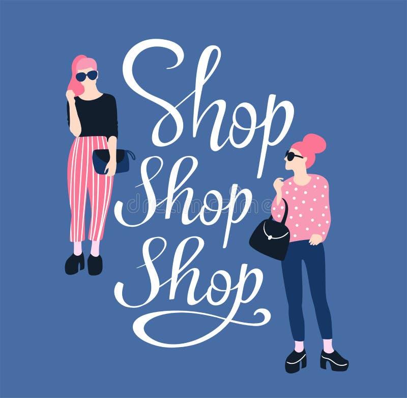 Recht junge Frauen in der Sonnenbrille mit handgeschriebenem Beschriftung ` Shop-Shop-Shop ` Vektorillustrationsplakat lizenzfreie abbildung