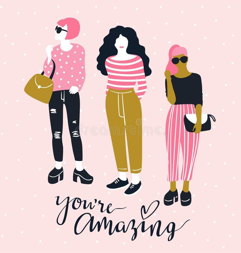Recht junge Modefrauen mit handgeschriebenem Beschriftung ` Sie ` bezüglich des erstaunlichen ` auf dem rosa Tupfenhintergrund Au lizenzfreie abbildung