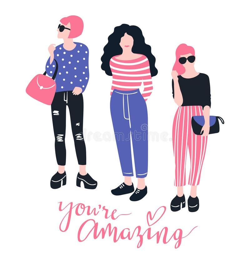 Recht junge Modefrauen mit handgeschriebenem Beschriftung ` Sie ` bezüglich des erstaunlichen ` lokalisiert auf dem weißen Hinter stock abbildung