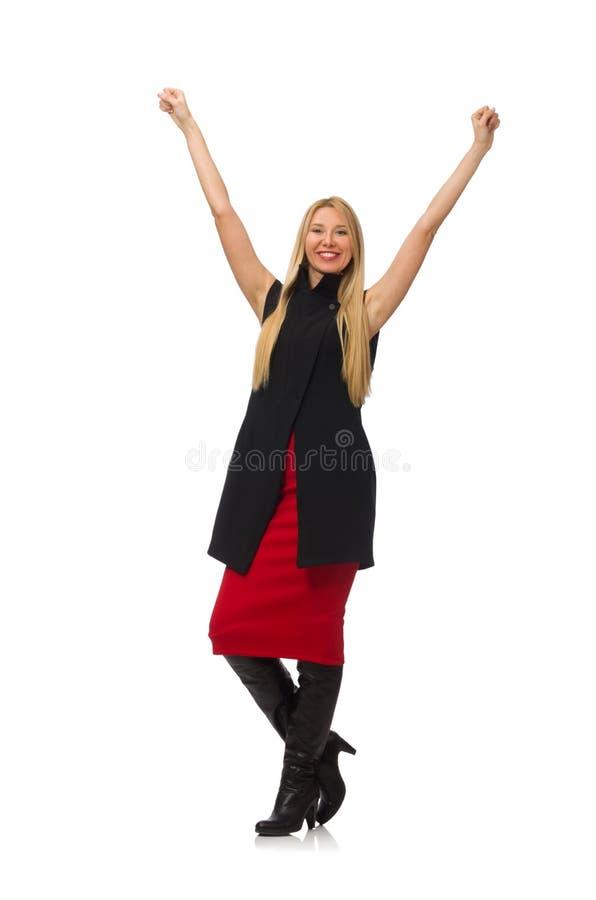 Recht junges Mädchen in bordo Rock lokalisiert auf Weiß stockbilder