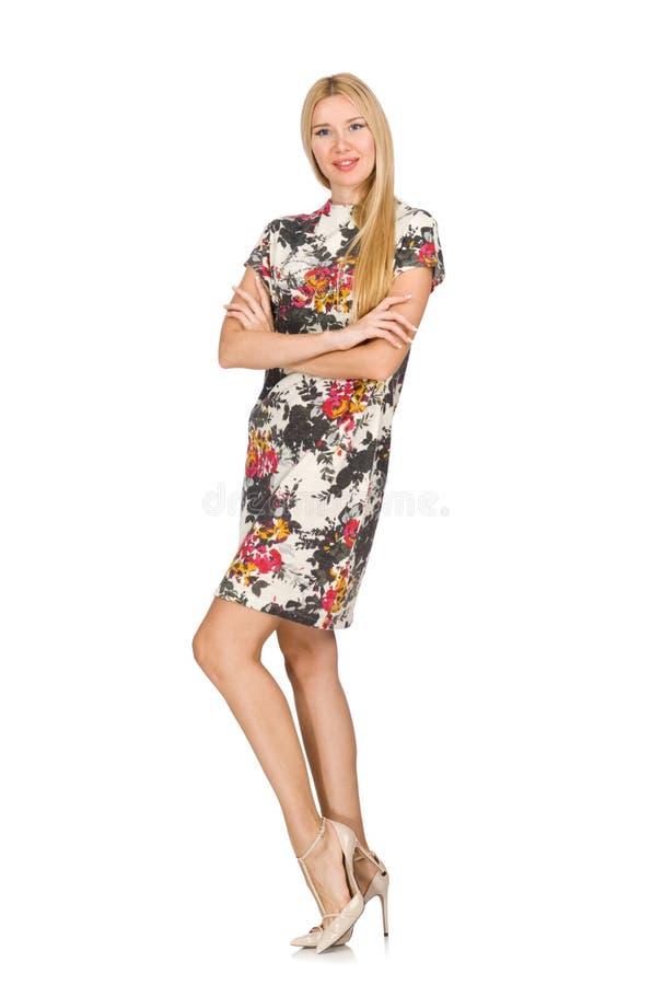 Recht kaukasisches tragendes Kleid der jungen Frau mit den Blumen lokalisiert stockbild