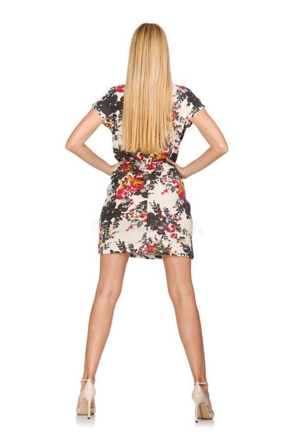 Recht kaukasisches tragendes Kleid der jungen Frau mit den Blumen lokalisiert lizenzfreies stockbild
