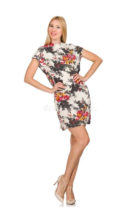 Recht kaukasisches tragendes Kleid der jungen Frau mit den Blumen lokalisiert stockfoto