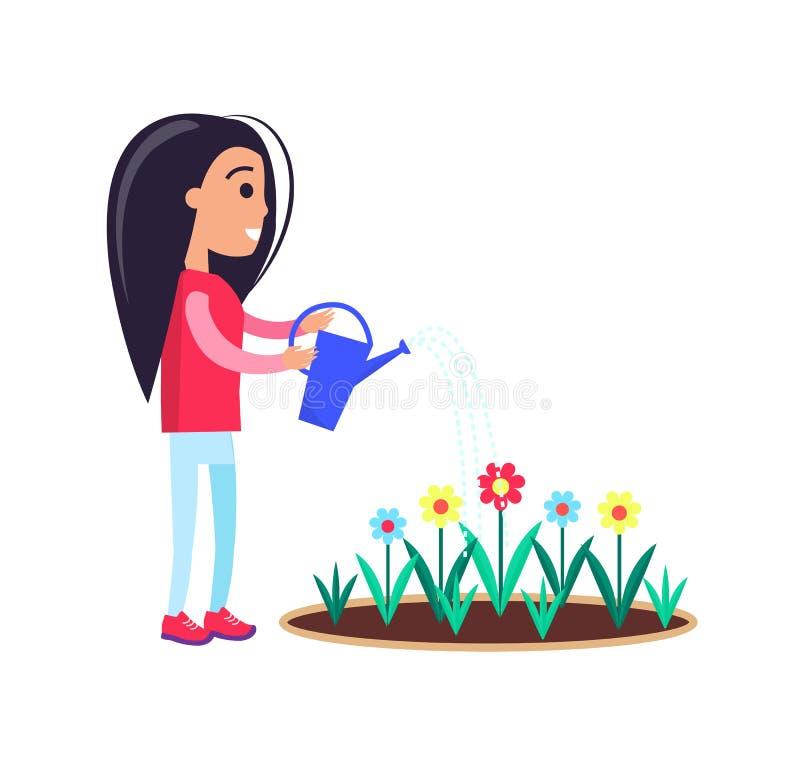 Recht kleines Mädchen-Bewässerungsblumen-blühende Knospen vektor abbildung