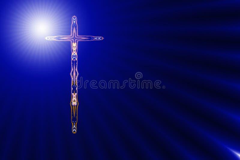 Recht kruis in Goddelijk licht royalty-vrije illustratie