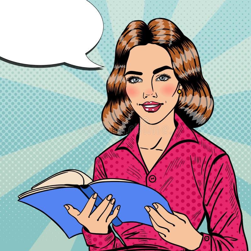 Recht lächelnder Knall Art Young Woman Reading Book stock abbildung