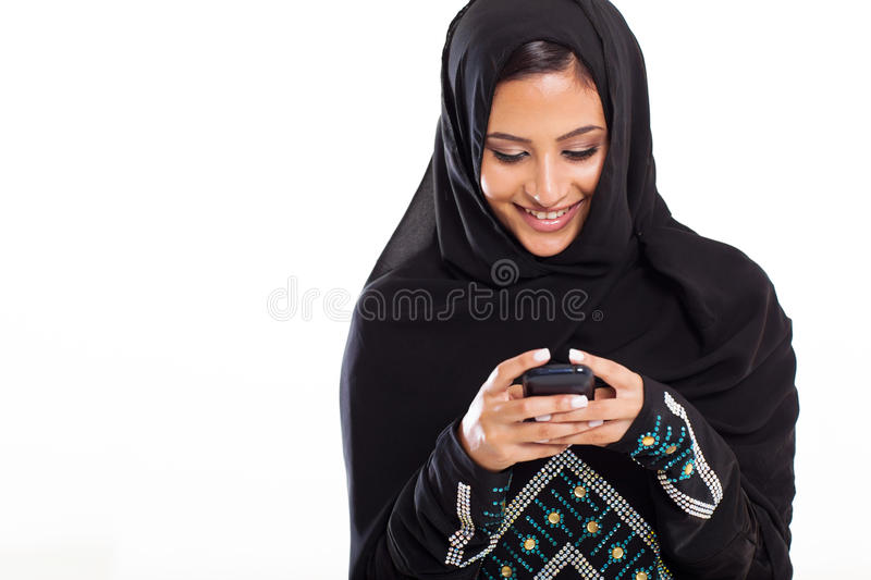 Arabisches Frauentelefon stockfotos