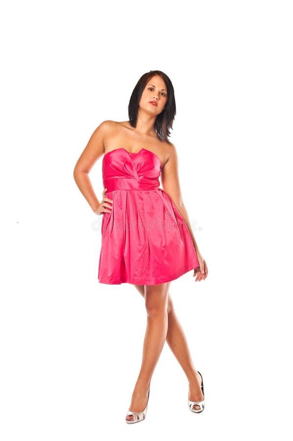 Recht rotes Kleid lizenzfreie stockfotos