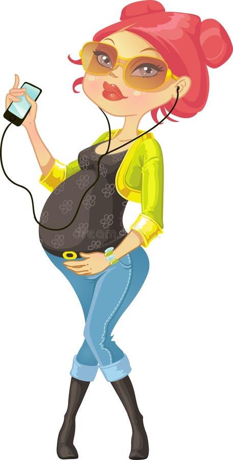 Recht schwangere Frau mit Telefon stock abbildung