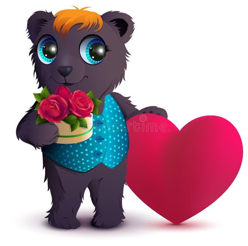 Recht schwarzer Bär hält Korbblumenstrauß-Rotrose und rotes Herzsymbol der Liebe Geschenk für Valentinstag vektor abbildung