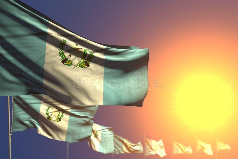 Recht setzten viele Guatemala-Flaggen auf Sonnenuntergang diagonales mit Weichzeichnung und Platz für Ihren Text - jede mögliche  vektor abbildung