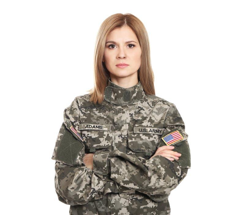 Recht weiblicher Soldat stockfotografie