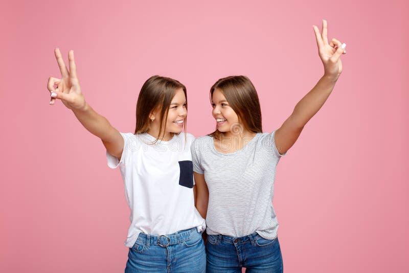 Recht zwei junge Zwillingsschwestern mit schönem Lächeln mit den Händen herauf das Zeigen von Friedensgeste über rosa Hintergrund stockbild