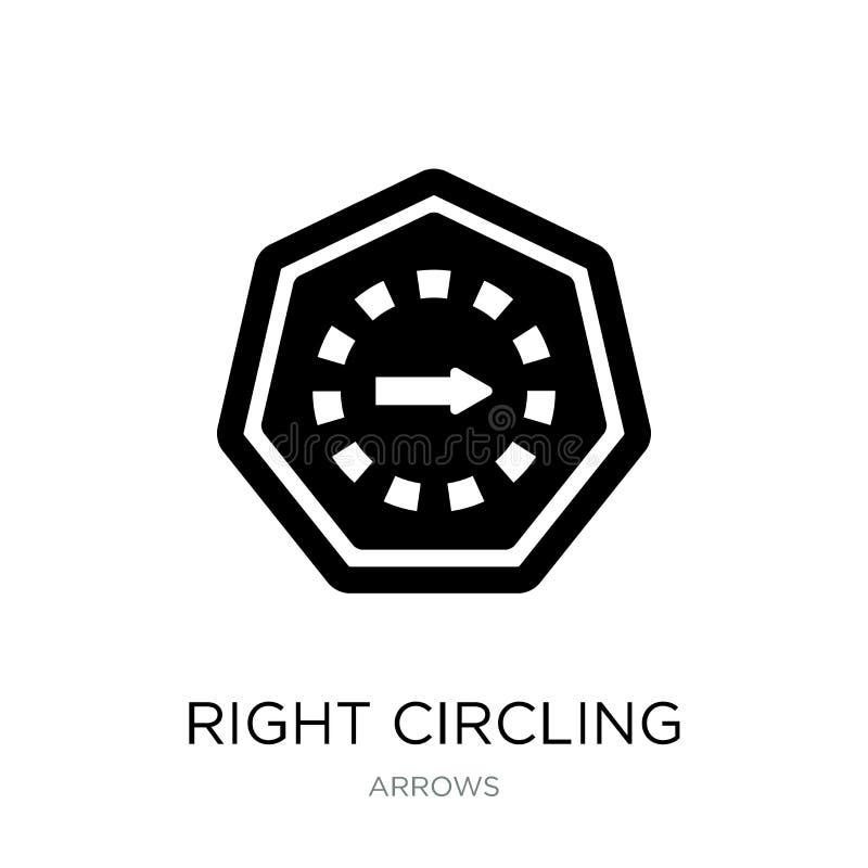 rechte einkreisende Pfeilikone in der modischen Entwurfsart rechte einkreisende Pfeilikone lokalisiert auf weißem Hintergrund rec stock abbildung